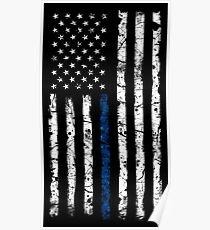 Blue Line (White) V2 Vertical Poster