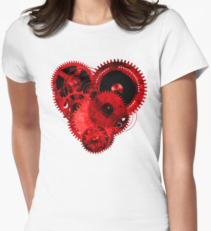 Steampunk Gears Red Heart T-Shirt