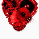Steampunk Gears Red Heart by Steve Crompton