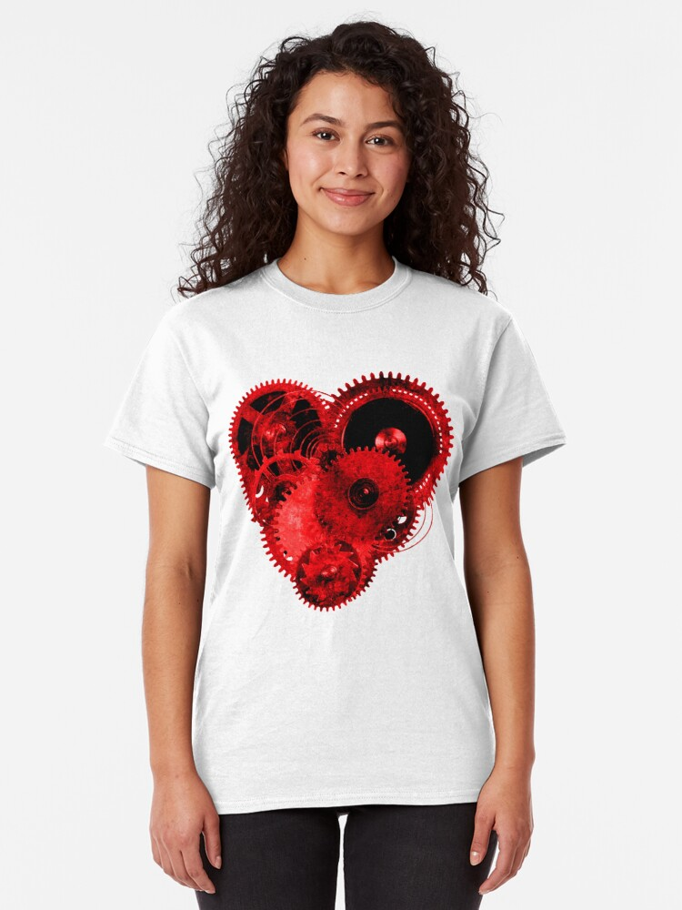 Alternate view of Steampunk Gears Red Heart Classic T-Shirt