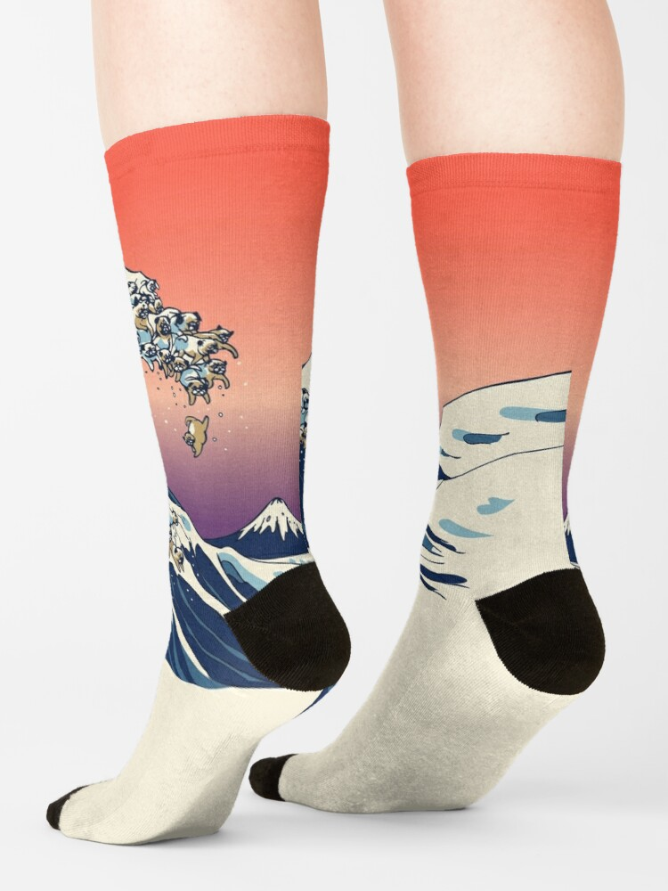 Alternate view of The Great Wave of Pug Socks