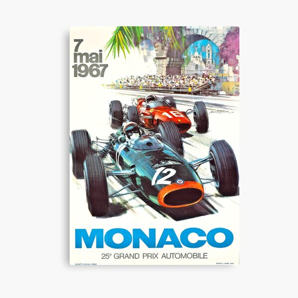 1967 Monaco Grand Prix Racing Poster Lienzo