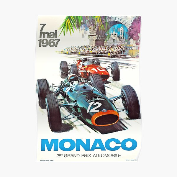 1967 Monaco Grand Prix Racing Poster Póster