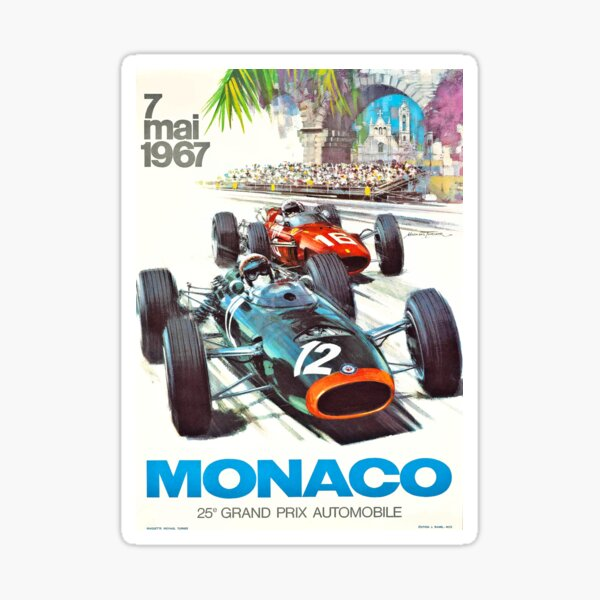 Poster du Monaco Grand Prix 1967 Sticker