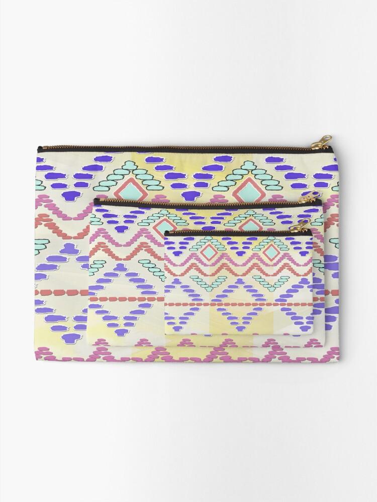 Alternate view of Pastel Tribal Pattern Zipper Pouch