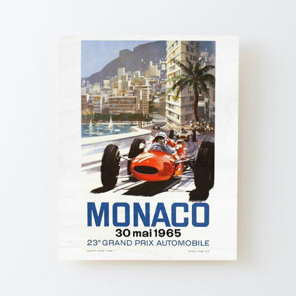 Affiche du Grand Prix de Monaco 1965 Impression montée sur bois