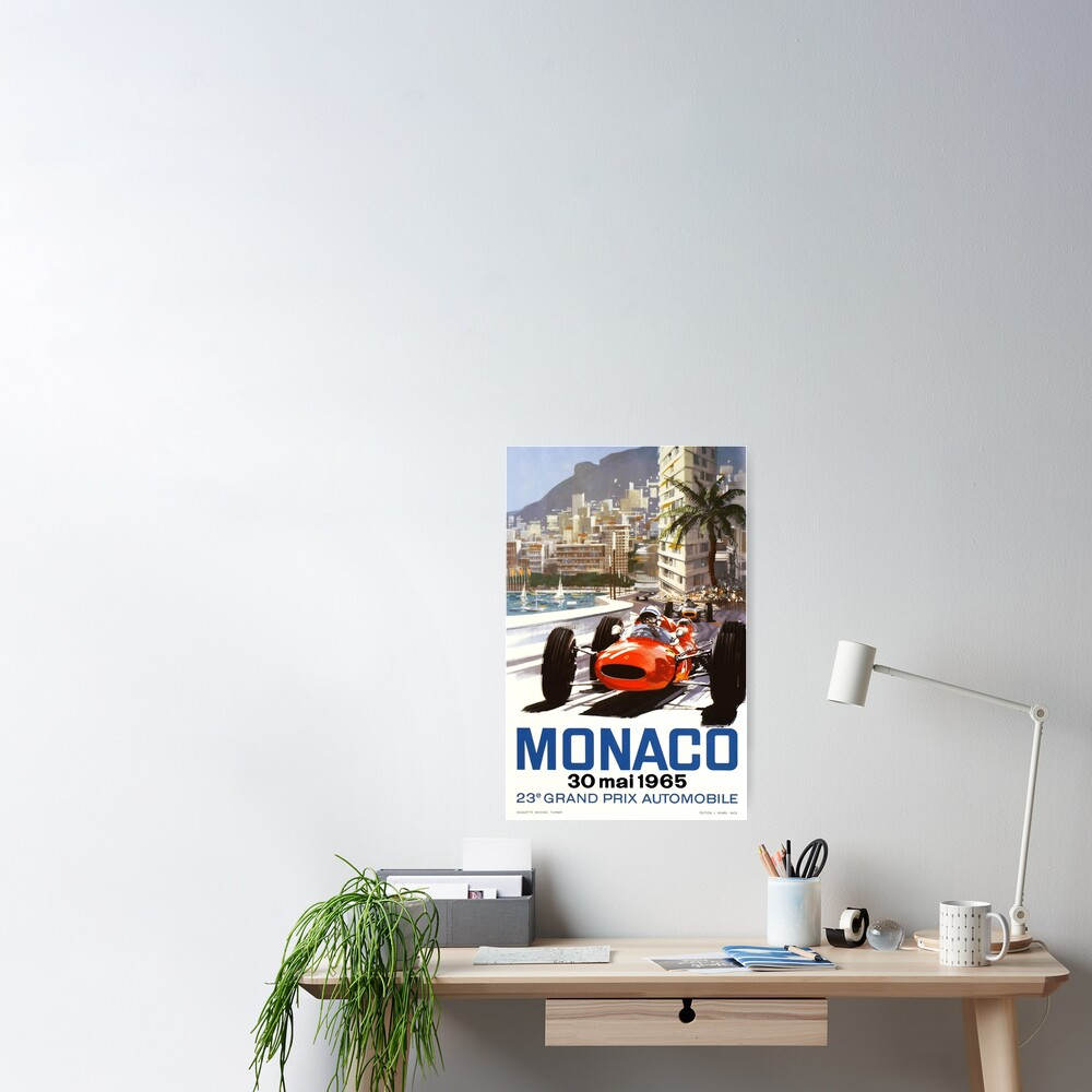 1965 Monaco Grand Prix Racing Poster Poster