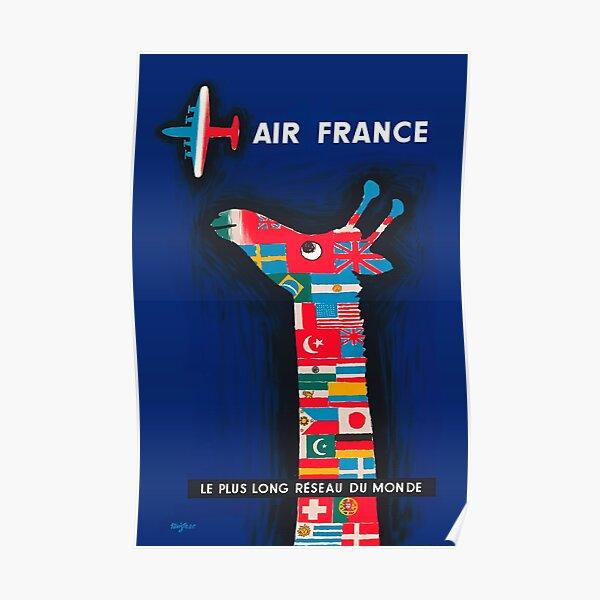Affiche de publicité pour girafe Air France International de 1956 Poster