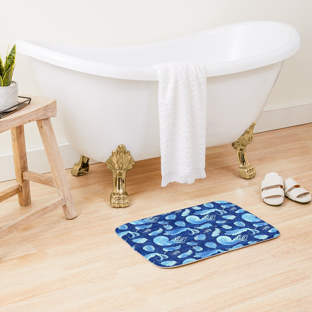 Ancient sea animals: Trilobites, Anomalocaris, Wiwaxia and others on dark b/g Bath Mat