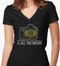 THE Camera Women's Fitted V-Neck T-Shirt