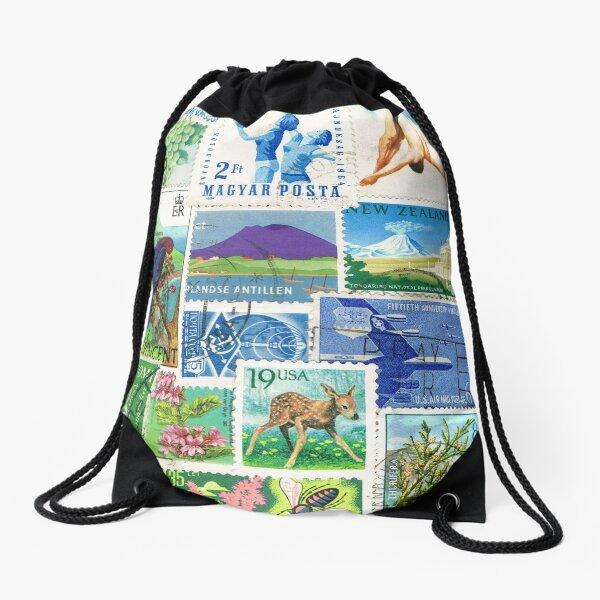 Wild Swim - abstract postage stamp landscape Drawstring Bag