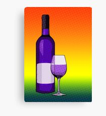 halftone wine bottle and glass Canvas Print