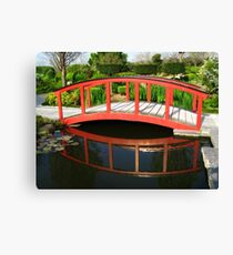 Red Bridge Reflections - Japanese Gardens Canvas Print