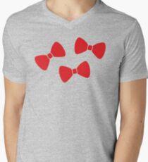 Red Bows Pattern Mens V-Neck T-Shirt