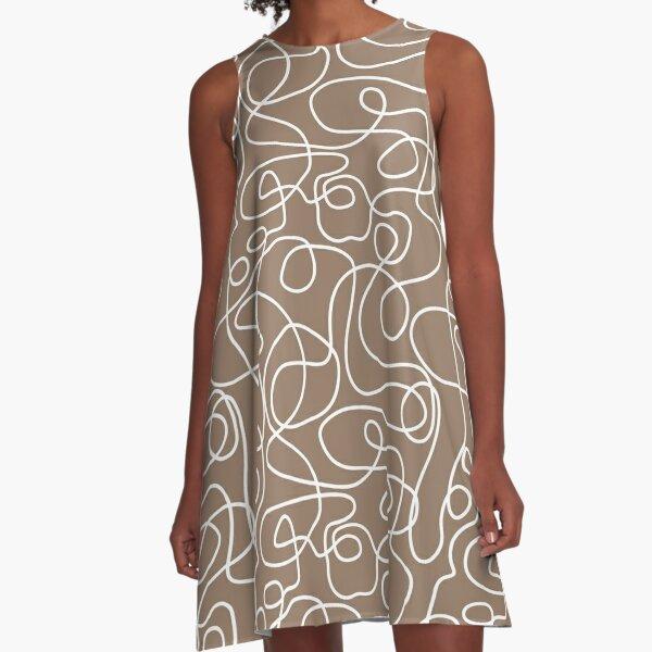 Doodle Line Art | White Lines on Malt Brown Background A-Line Dress