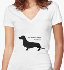 Sausage Dog/ Weiner dog funny T-Shirt Women's Fitted V-Neck T-Shirt
