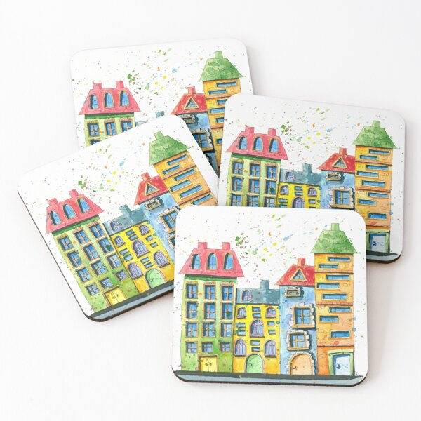 Watercolour Houses Standing in a Row Coasters (Set of 4)