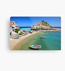 Kokkari embraced by the Aegean Metal Print