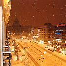 Snowing in Prague by stephen denton