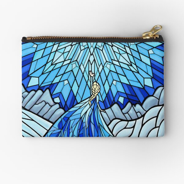 Frozen Fractals in the Stained Glass Window Zipper Pouch
