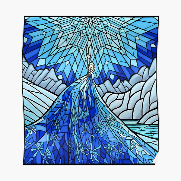 Frozen Fractals in the Stained Glass Window Poster
