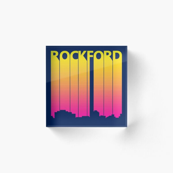 Retro 1980s Rockford City Skyline Acrylic Block