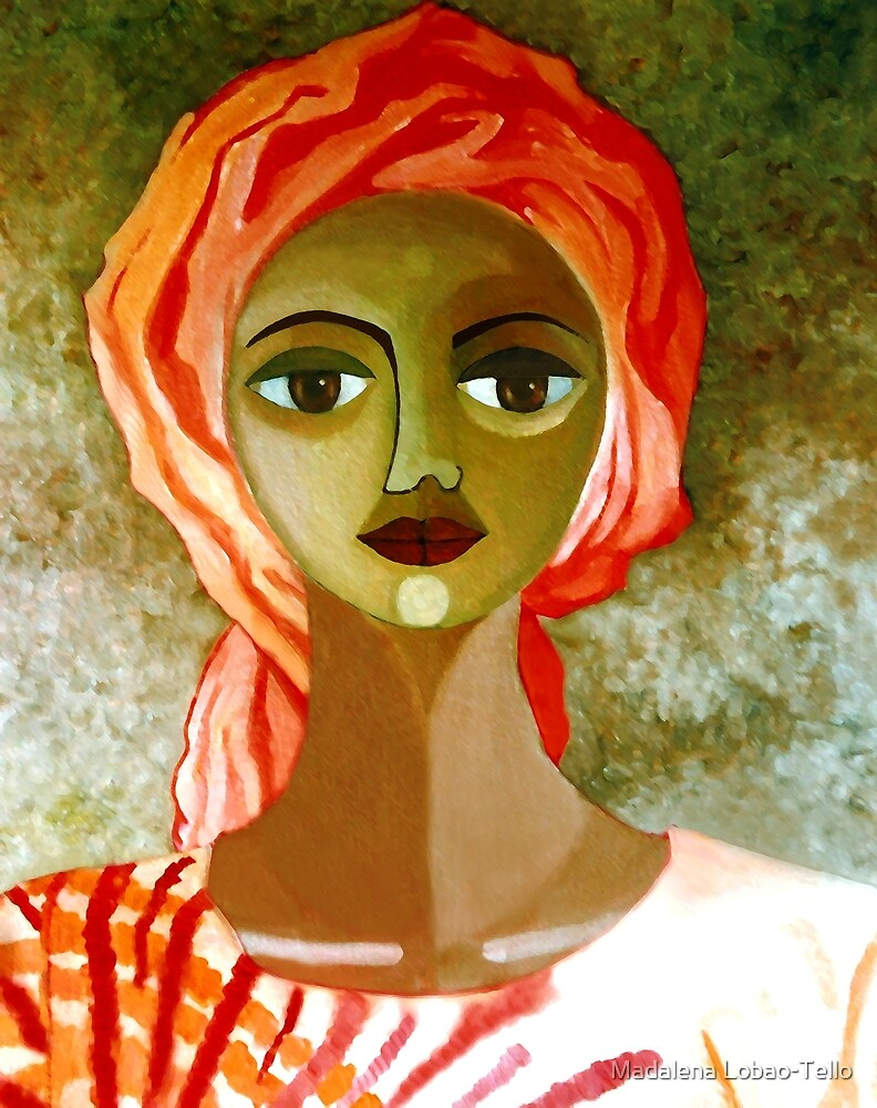 African woman with turban by Madalena Lobao-Tello