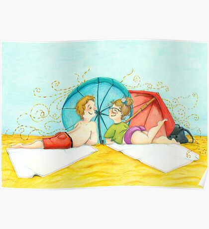Boy and girl at the beach Poster