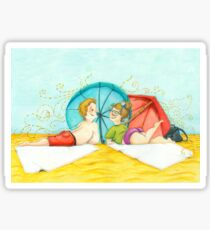 Boy and girl at the beach Sticker