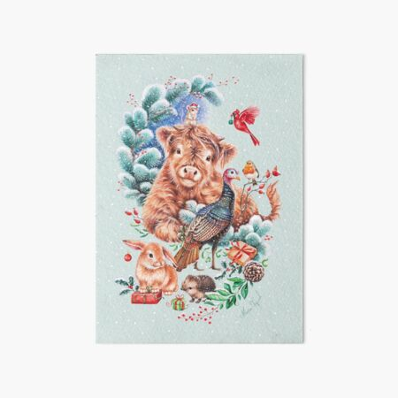 Happy Xmas animals by Maria Tiqwah Art Board Print