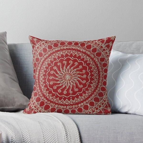 Fond de couleur Mandala - Rouge Coussin