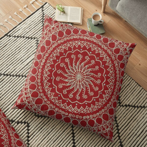 Color Background Mandala - Red Floor Pillow