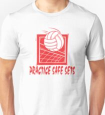 "Funny Volleyball ""Practice Safe Sets"" Unisex T-Shirt"