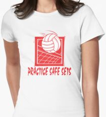"Funny Volleyball ""Practice Safe Sets"" Womens Fitted T-Shirt"