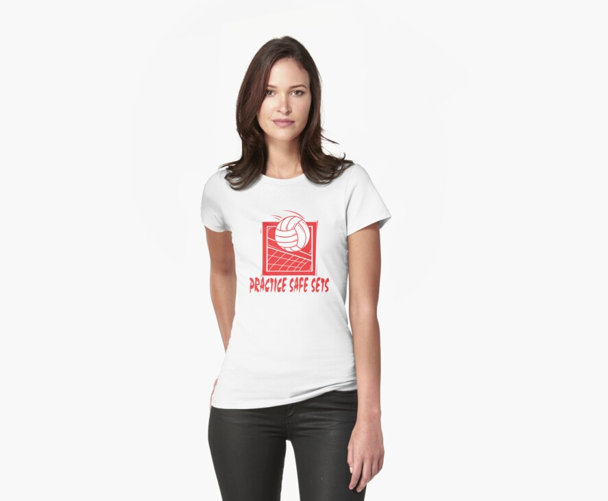 """Funny Volleyball """"Practice Safe Sets"""" by SportsT-Shirts"""