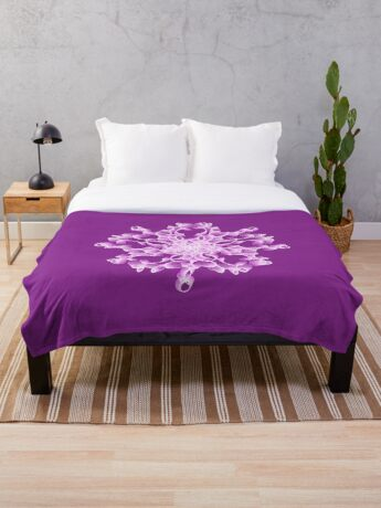 Abstract flower in lilac Throw Blanket