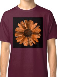 Orange flower with water drops Classic T-Shirt