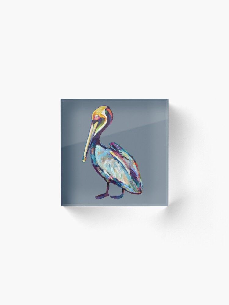 Alternate view of Colorful Pelican by Robert Phelps Acrylic Block