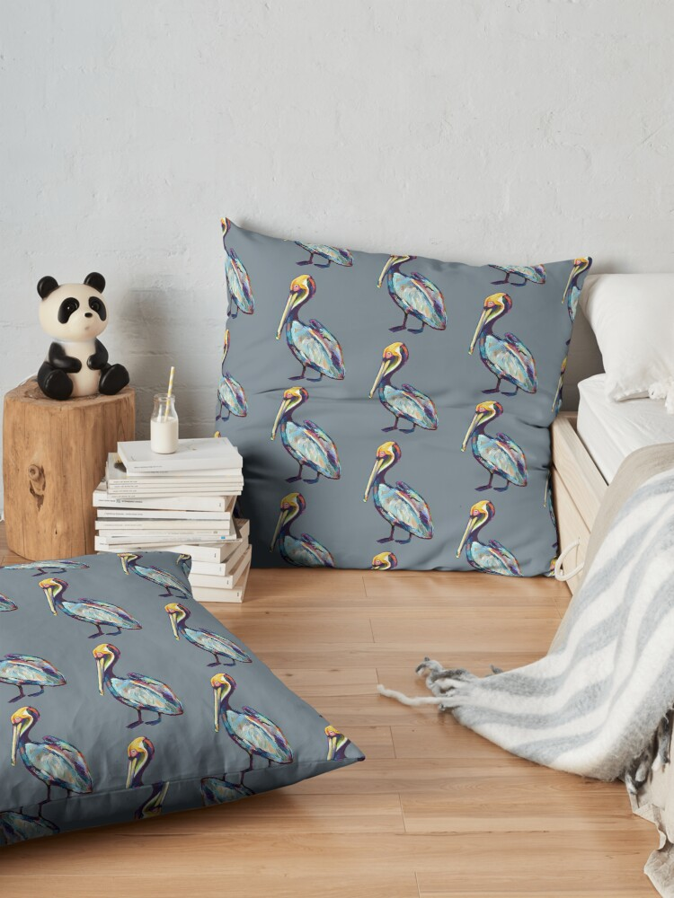 Alternate view of Colorful Pelican by Robert Phelps Floor Pillow