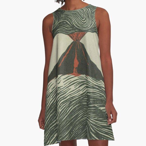Volcano Woodcut A-Line Dress
