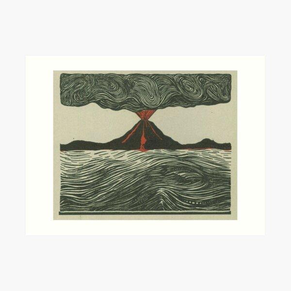 Volcano Woodcut Art Print
