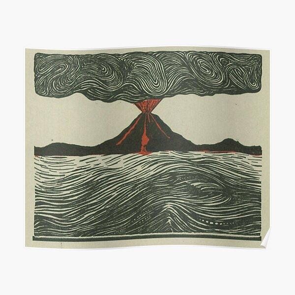 Volcano Woodcut Poster