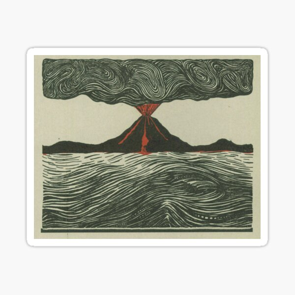 Volcano Woodcut Sticker
