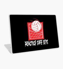 "Funny Volleyball ""Practice Safe Sets"" Dark Laptop Skin"