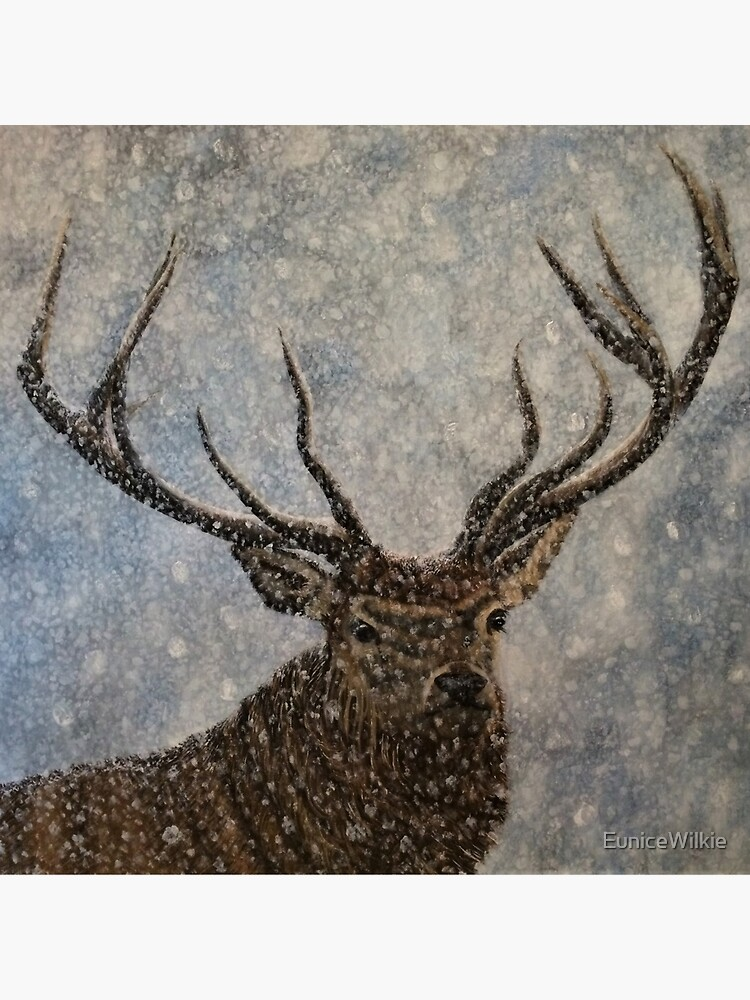 Not Afraid of the Snow - Stag in Snow - Wall Art by EuniceWilkie