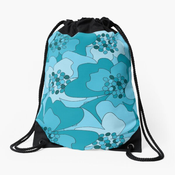 Turquoise Passion Flowers Drawstring Bag