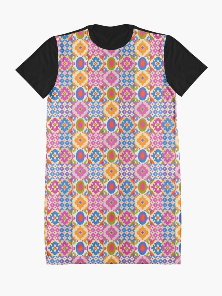 Alternate view of Decorative Ikat Pattern Graphic T-Shirt Dress