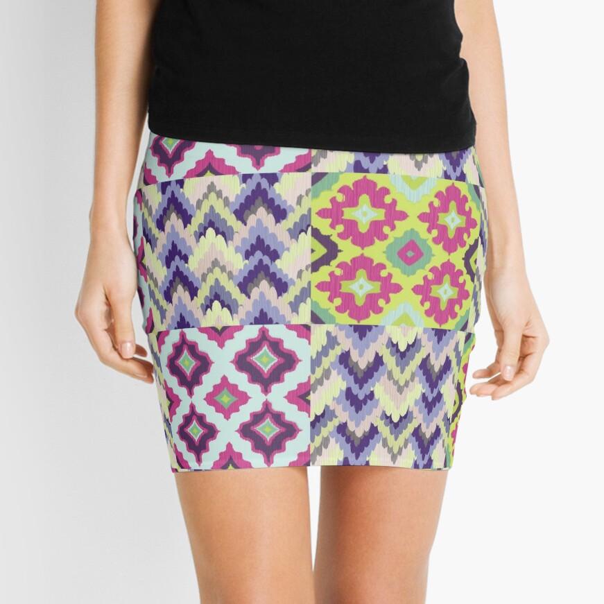 Decorative Ikat Pattern Mini Skirt
