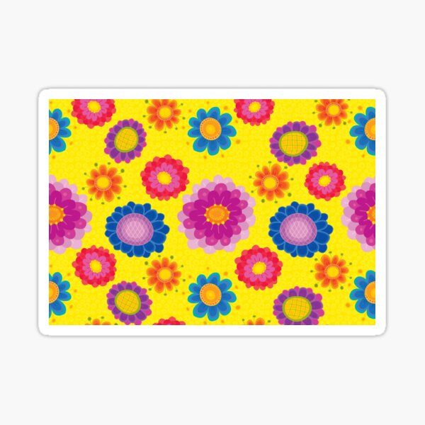 Yellow Floral Pattern Sticker