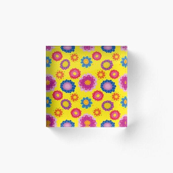 Yellow Floral Pattern Acrylic Block
